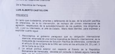 Paraguayos piden al Gobierno que respete a Venezuela