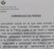 Bolivia: Fuerzas Armadas dicen que no intervendrán
