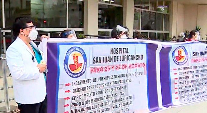Covid-19: paro de trabajadores de la salud de Perú