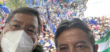 Imponente marcha en Bolivia apoya a Arce y Choquehuanca